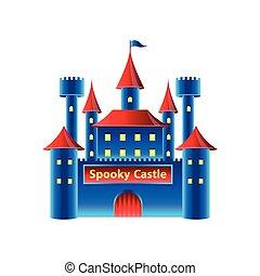 château, horreur, vecteur, isolé, blanc