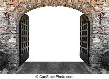 château, isolated., portes