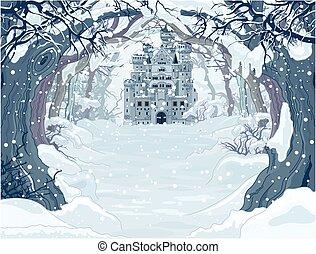 château, magie, hiver