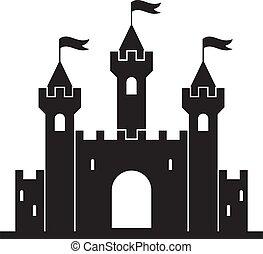 château, moyen-âge, bâtiment, vecteur