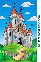 château, moyen-âge, colline