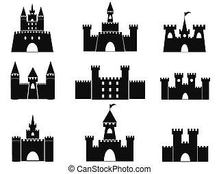 château, noir, icônes