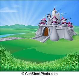 château, paysage, illustration