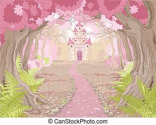 château, paysage, magie