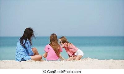 château, petite mère, plage, confection, filles, sable, exotique