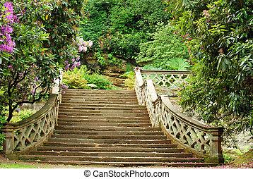 château, pierre, escalier, hever, jardin
