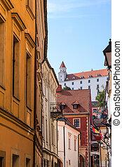 château, rue, vue, bastova, bratislava