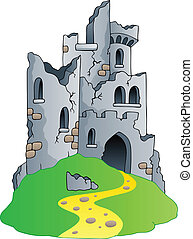 château, ruines, colline