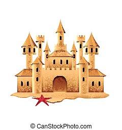château, sable, vecteur, isolé, blanc