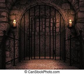 château, toile de fond, prison