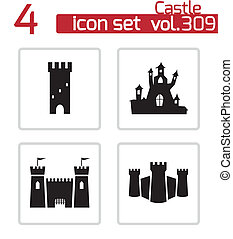 château, vecteur, noir, ensemble, icônes