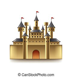 château, vecteur, vieux, isolé, blanc
