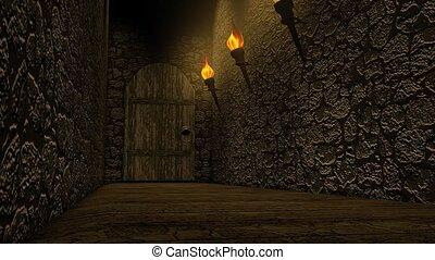 château, vieux, passage