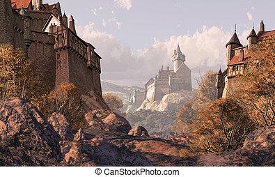 château, village, moyen-âge, temps