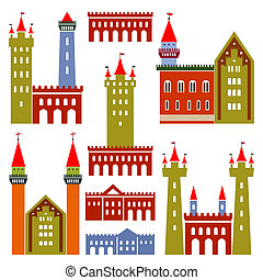 châteaux, vecteur, architecture