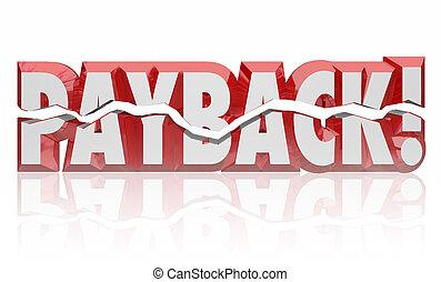châtiment, mot, obtenir, justice, vengeance, régler, payback, vengeance, 3d