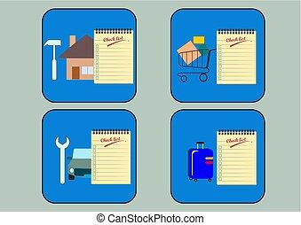 chèque, illustration., vecteur, livre, note, liste