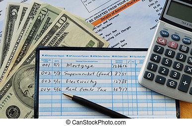chèques, faire, paiements, quelques-uns, écrire