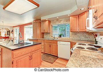 chêne, cabinetry, clair, bois, intérieur, cuisine
