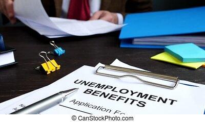 chômage, formulaire, avantages, application, directeur, bureau.