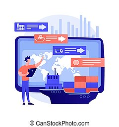 chaîne, analytics, concept, résumé, vecteur, fourniture, illustration.