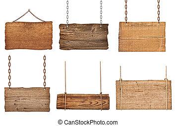 chaîne, bois, signe, corde, fond, pendre, message