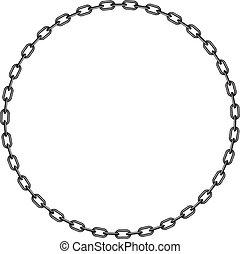 chaîne, cercle, sombre, forme