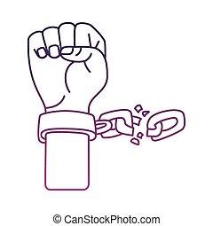 chaîne, main, icône, style, ligne, cassé, esclave