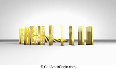 chaîne, tomber, domino, effect.