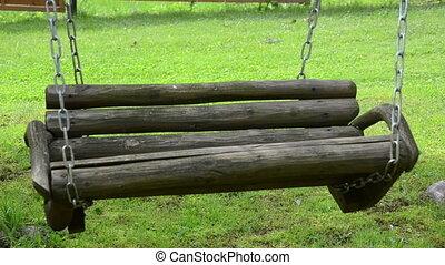 chaîne, vide, balançoire, bois