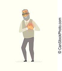 chagrin, gens, -, isolé, illustration, caractères, personne agee, dessin animé, homme