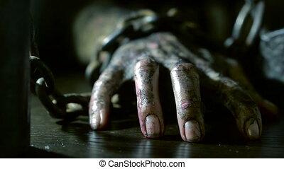 chain., monstre, enchaîné, halloween, terrible, main, fer, brûlé