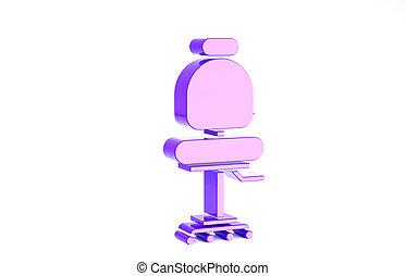 chaise, bureau, arrière-plan., minimalisme, icône, concept., 3d, blanc, isolé, illustration, render, pourpre