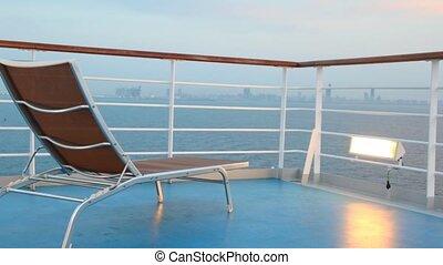 chaise, croisière, en mouvement, bateau, pont
