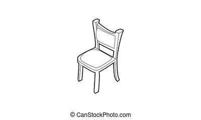 chaise, icône, animation
