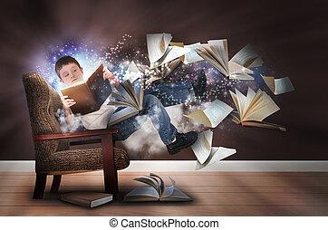 chaise, lecture garçon, livres, imagination
