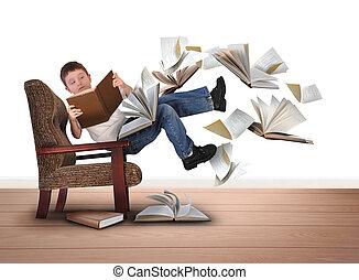 chaise, lecture garçon, livres, voler, blanc