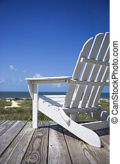 chaise, plage, deck.