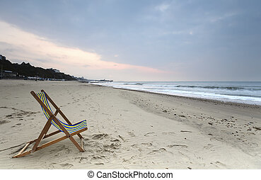 chaise, pont, plage, bournemouth