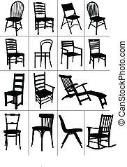 chaise, silhouettes., ensemble, grand, maison