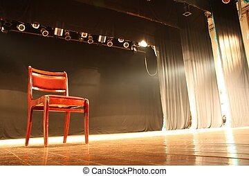 chaise, vide, théâtre, étape