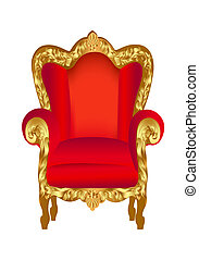 chaise, vieux, rouges, or