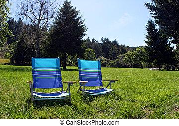 chaises, 2, parc