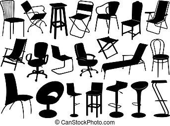 chaises, ensemble, illustration