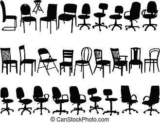 chaises, grand, vecteur, -, collection