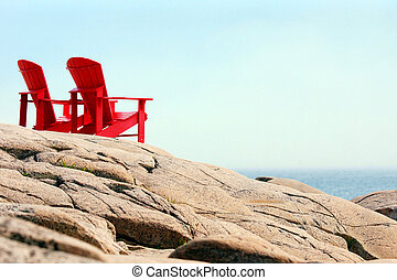 chaises, mer rouge