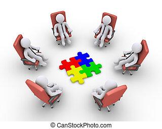 chaises, morceaux puzzle, hommes affaires, séance