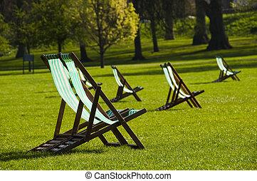 chaises, parc, pont