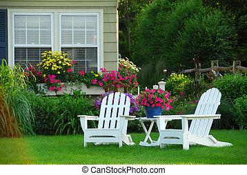 chaises, pelouse, deux