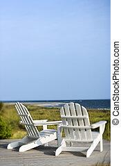 chaises, plage., adirondack, négligence
